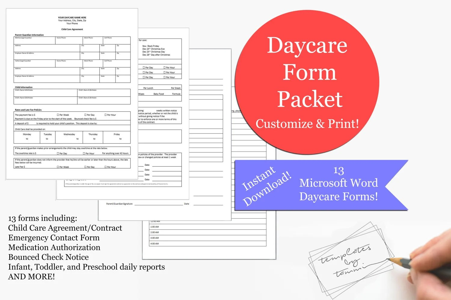 Daycare Form Pack Daycare Records Daycare Forms Editable Etsy