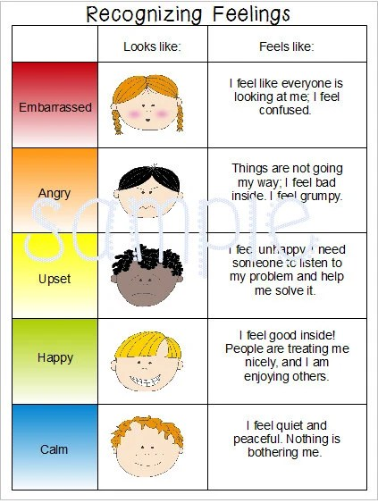 Emotions Feelings Chart Special Needs Autism Speech Delay Etsy