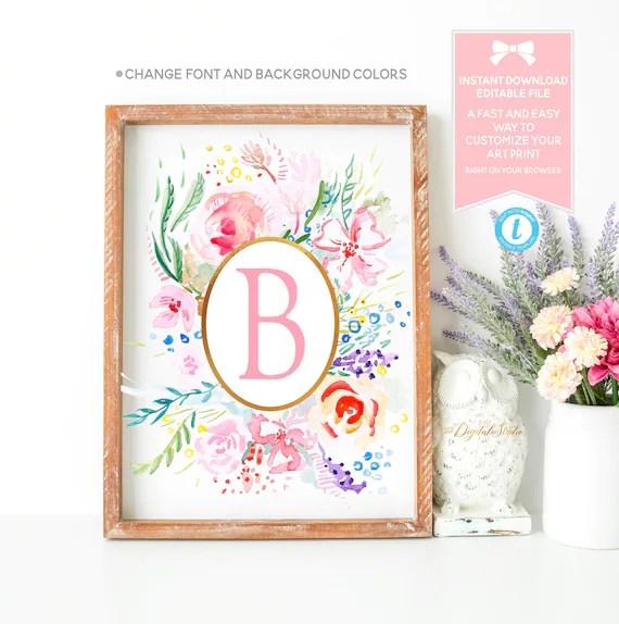 Floral Monogram Printable Editable Instant Download Etsy