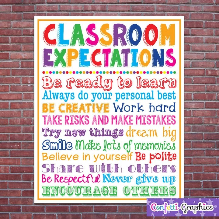 Classroom Expectations Rules Teacher Appreciation Sign Poster Etsy
