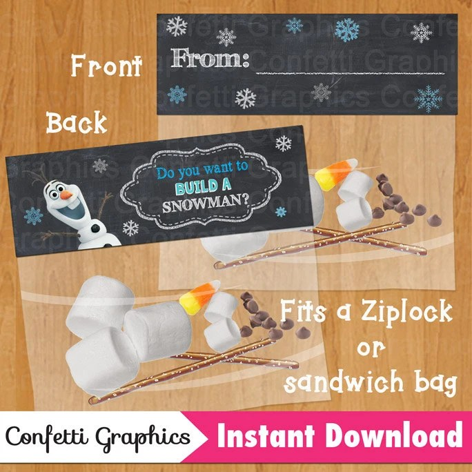 Do you want to build a snowman / From Frozen Bag Topper Olaf Etsy