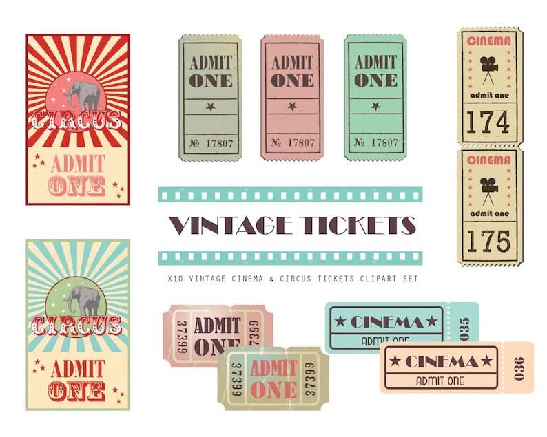 Vintage Cinema ticket clipart Cinema clipart Ticket Etsy