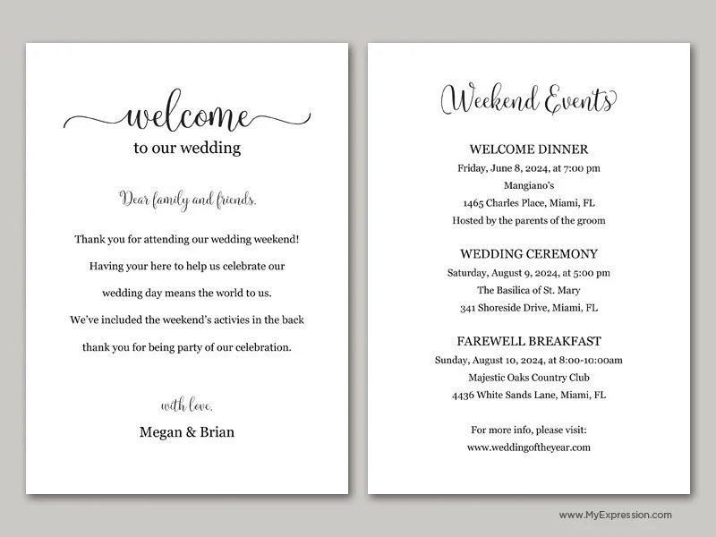Script Wedding Welcome Card 9051 Black Editable PDF Etsy