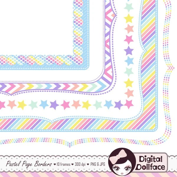 Digital Clipart Frame, Pastel Rainbow Party Graphics, Doodle Page - rainbow page border