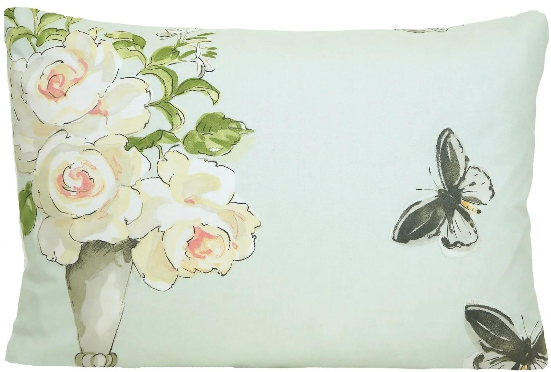 Roses Cushion Cover Butterflies Fabric Perroquet Nina