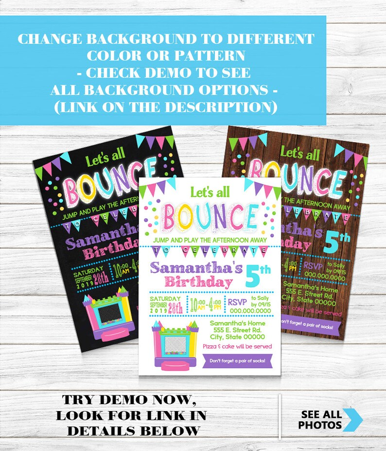 Bounce House Birthday Party invitation jumping trampoline pink Etsy
