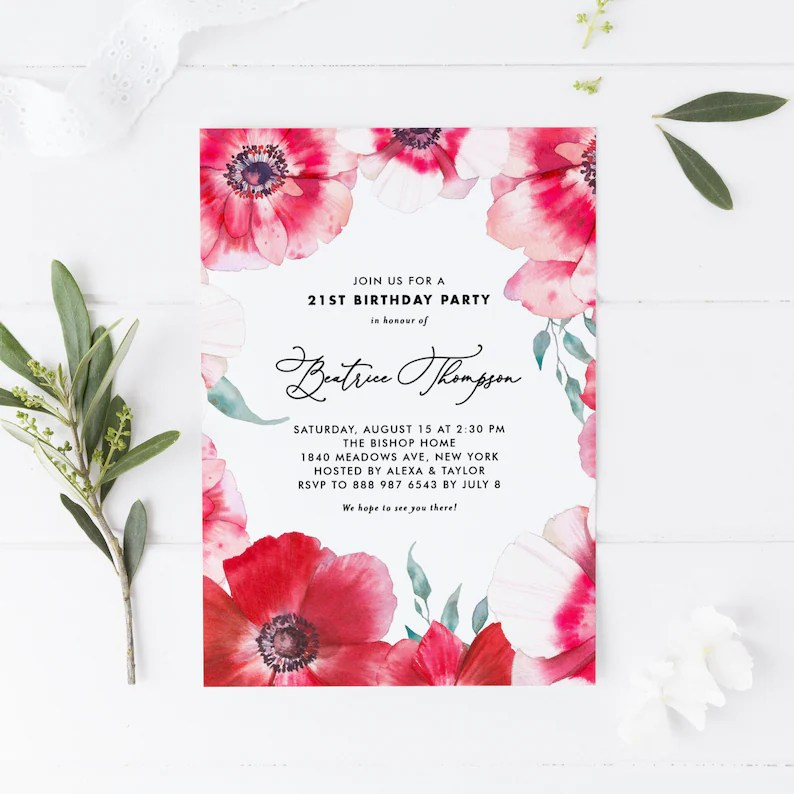 Printable Birthday Party Invitation Watercolor Red Poppies Etsy