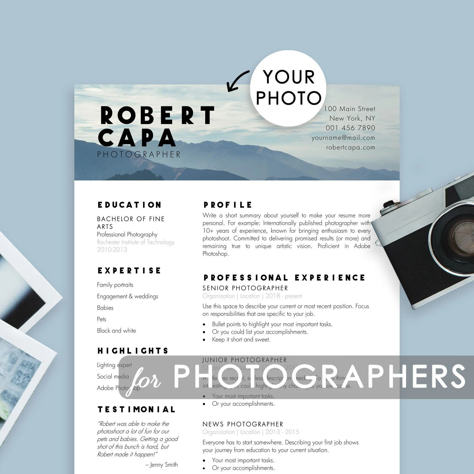 Professional Photographer Resume Template MS Word and Pages Etsy