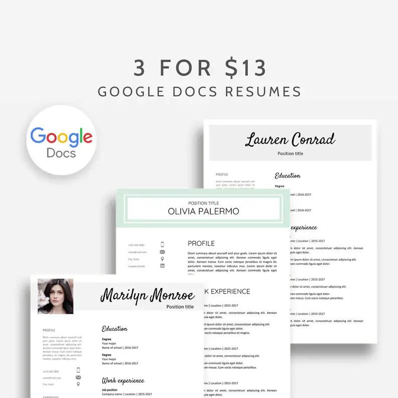 Google Docs Resume Template Bundle 3x Resume Google Docs Etsy