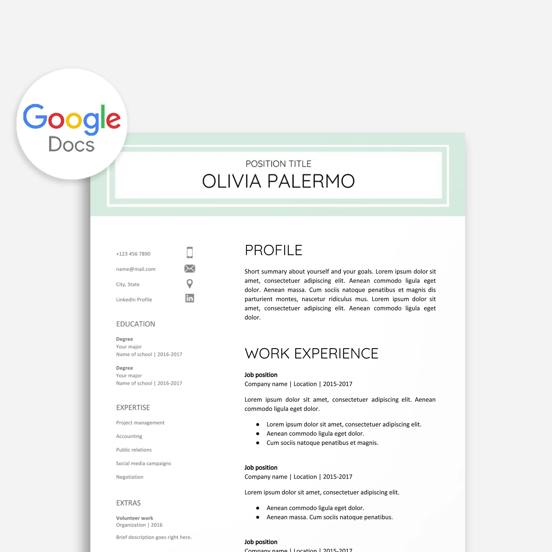 Resume Template Google Docs Cover Letter Google Docs Etsy