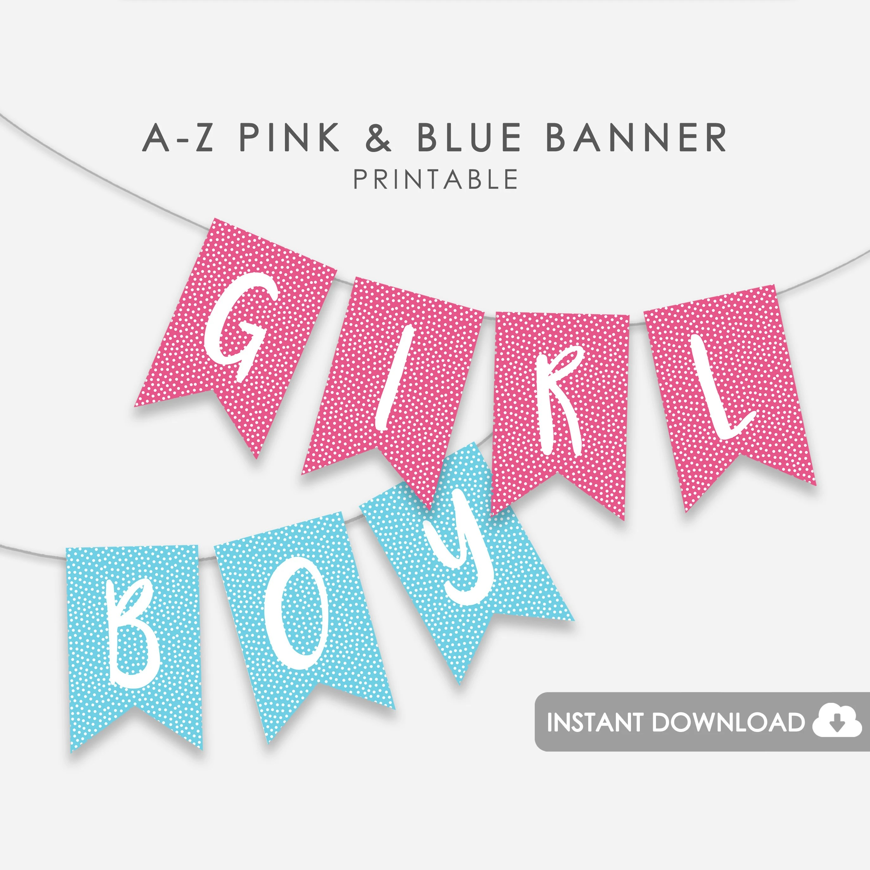 Printable Baby Shower Banner Alphabet A-Z Gender Reveal Etsy