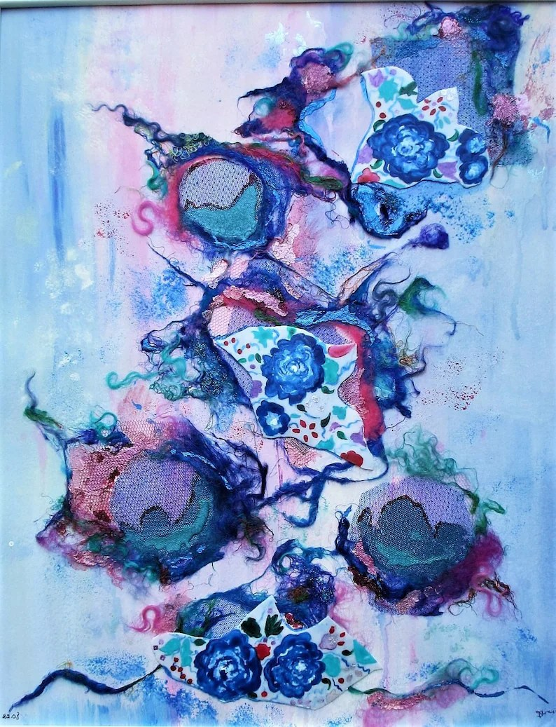 Contemporary Abstract Painting Contemporary Abstract Painting Abstract Original Painting Textile And Acrylic Painting Mixed Media Painting Blue Picture Blue Painting