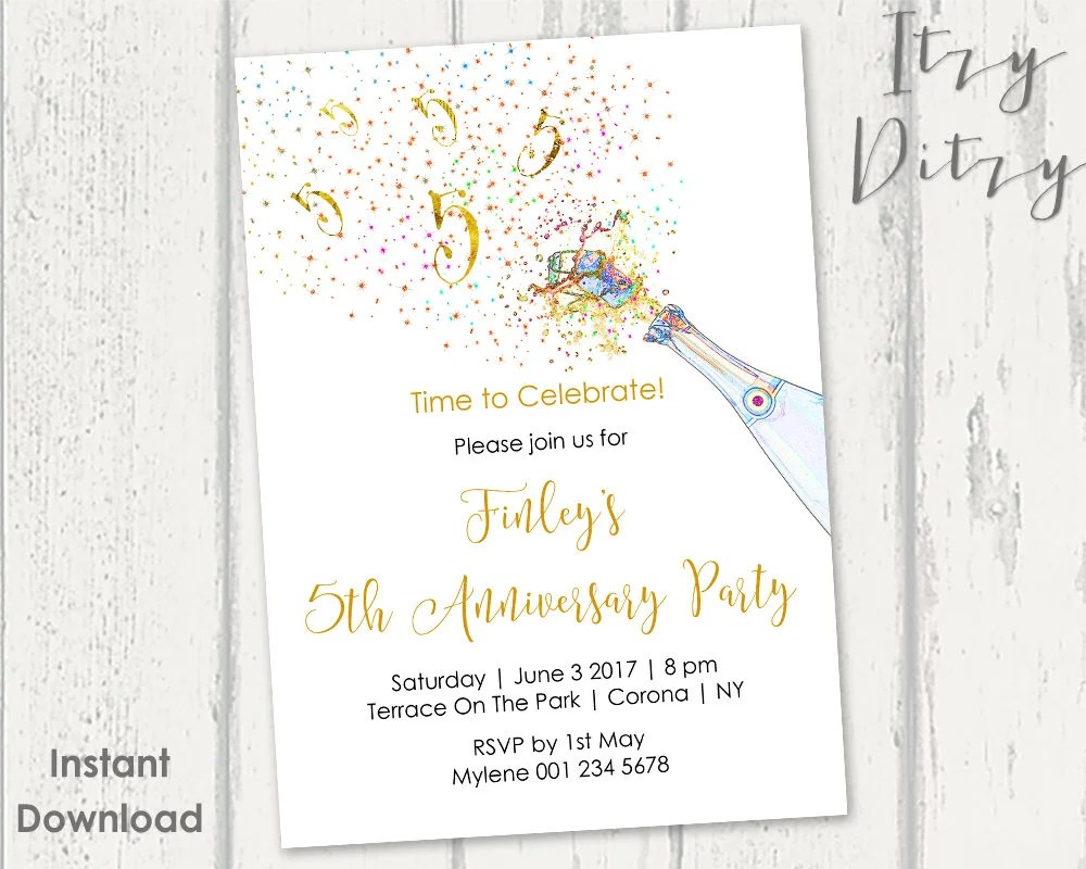 5th Anniversary invitations template Printable Gold Etsy