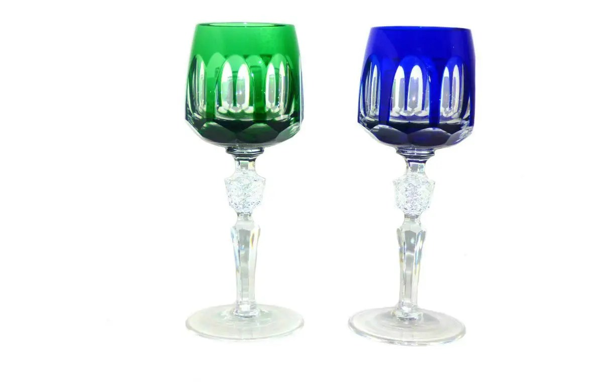 Cut Crystal Wine Glasses Colored Vintage Colored Cut To Clear Crystal Wine Glasses By Etsy
