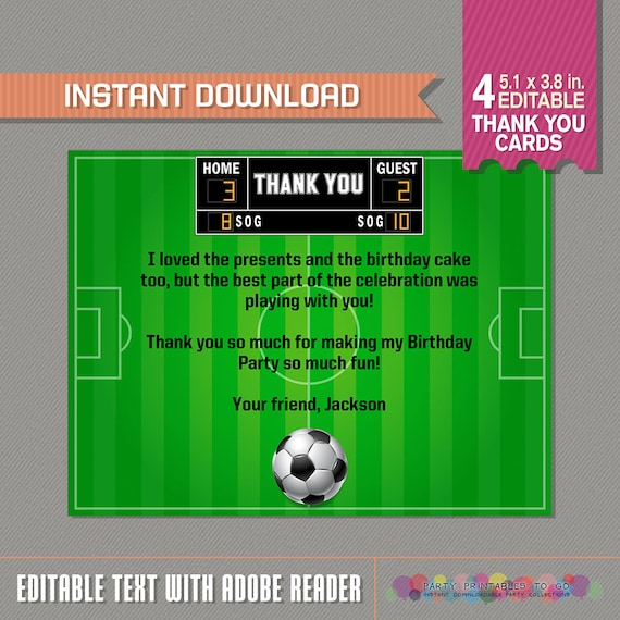Soccer Thank You Card - Soccer Party - Soccer Birthday - Instant