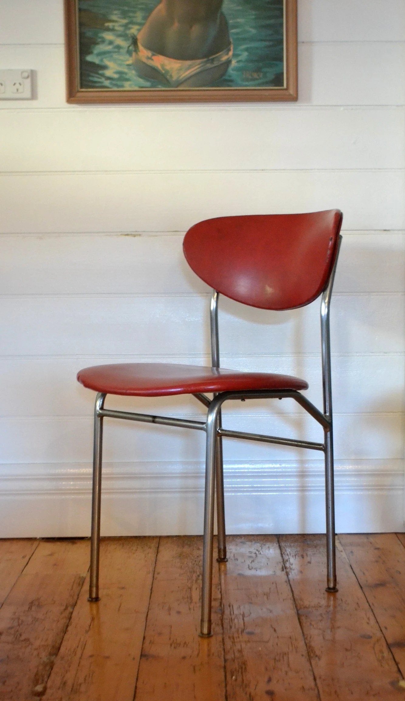 Farbige Esszimmerstühle Vintage Curved Back Red Kitchen Dining Chair Mid Century