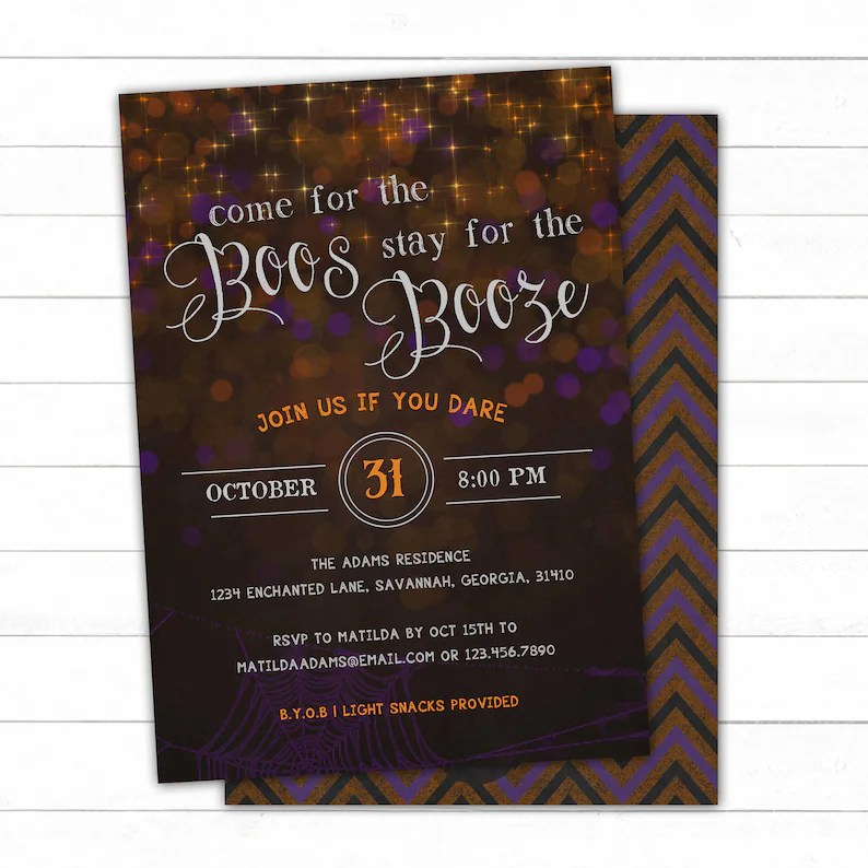 Boos and Booze Halloween Party Invitation Adult Halloween Etsy