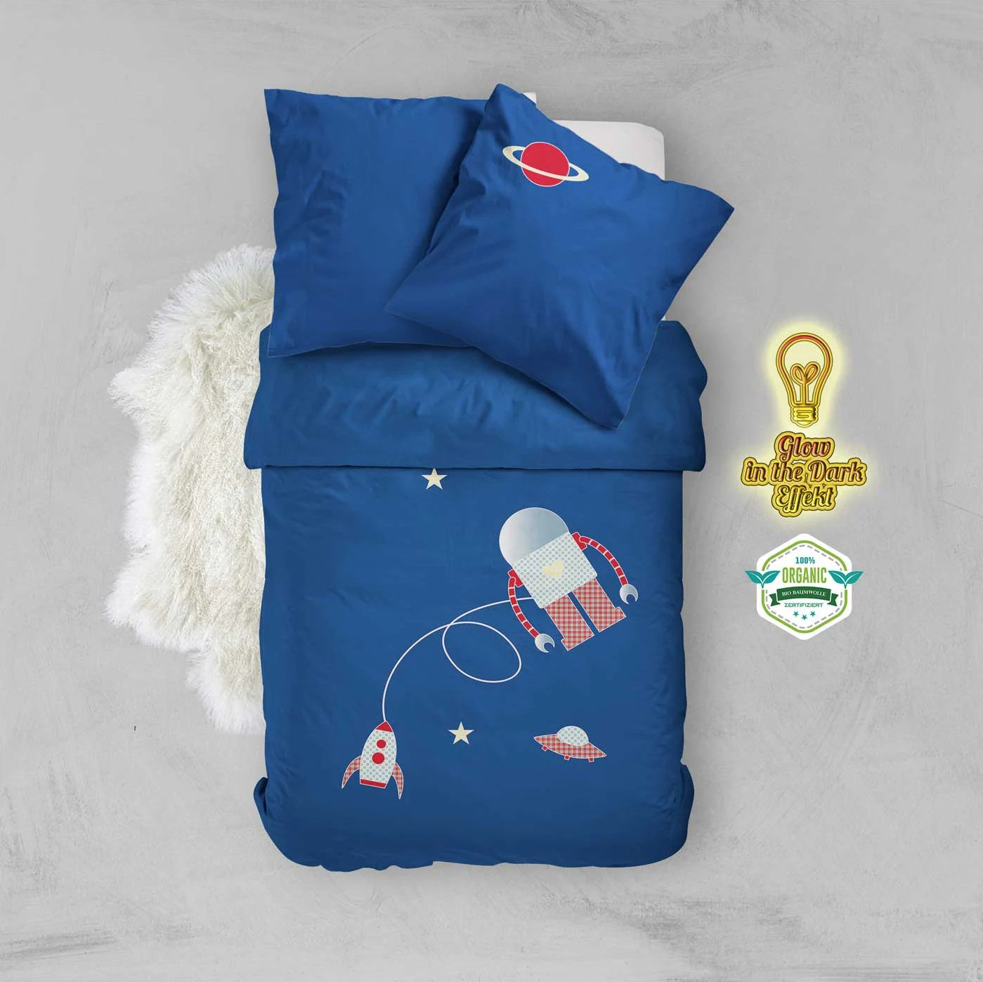Kinderbettwäsche Organic Boy Bedding With Rocket And Robot Glow In The Dark Organic Cotton