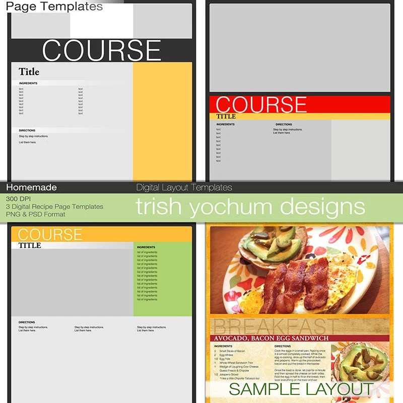 Recipe Page Templates Cookbook Template Pages Photoshop PSD - homemade cookbook template