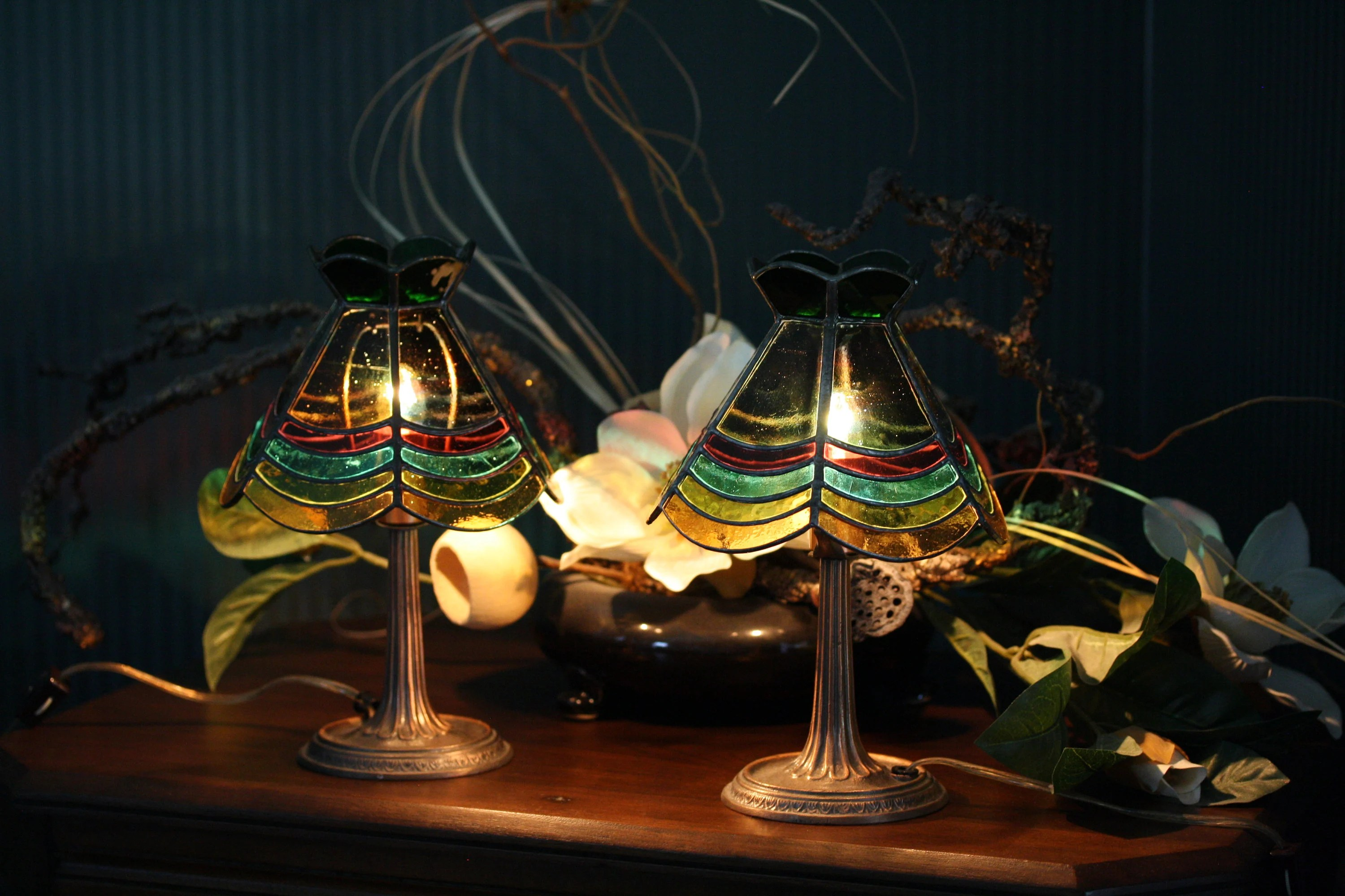 Glass Lamp Art Stained Glass Lamps Matching Pair Art Deco Mini Accent Lights