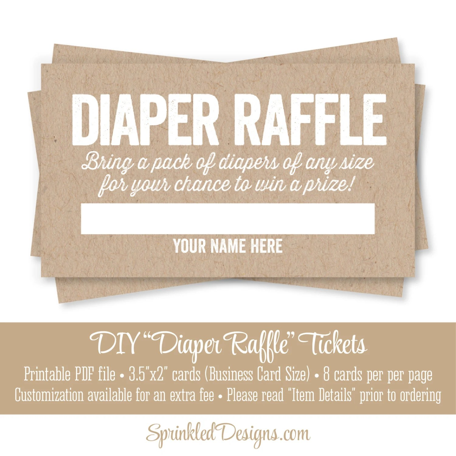 Printable Diaper Raffle Tickets Rustic Brown Kraft Paper Fun Etsy