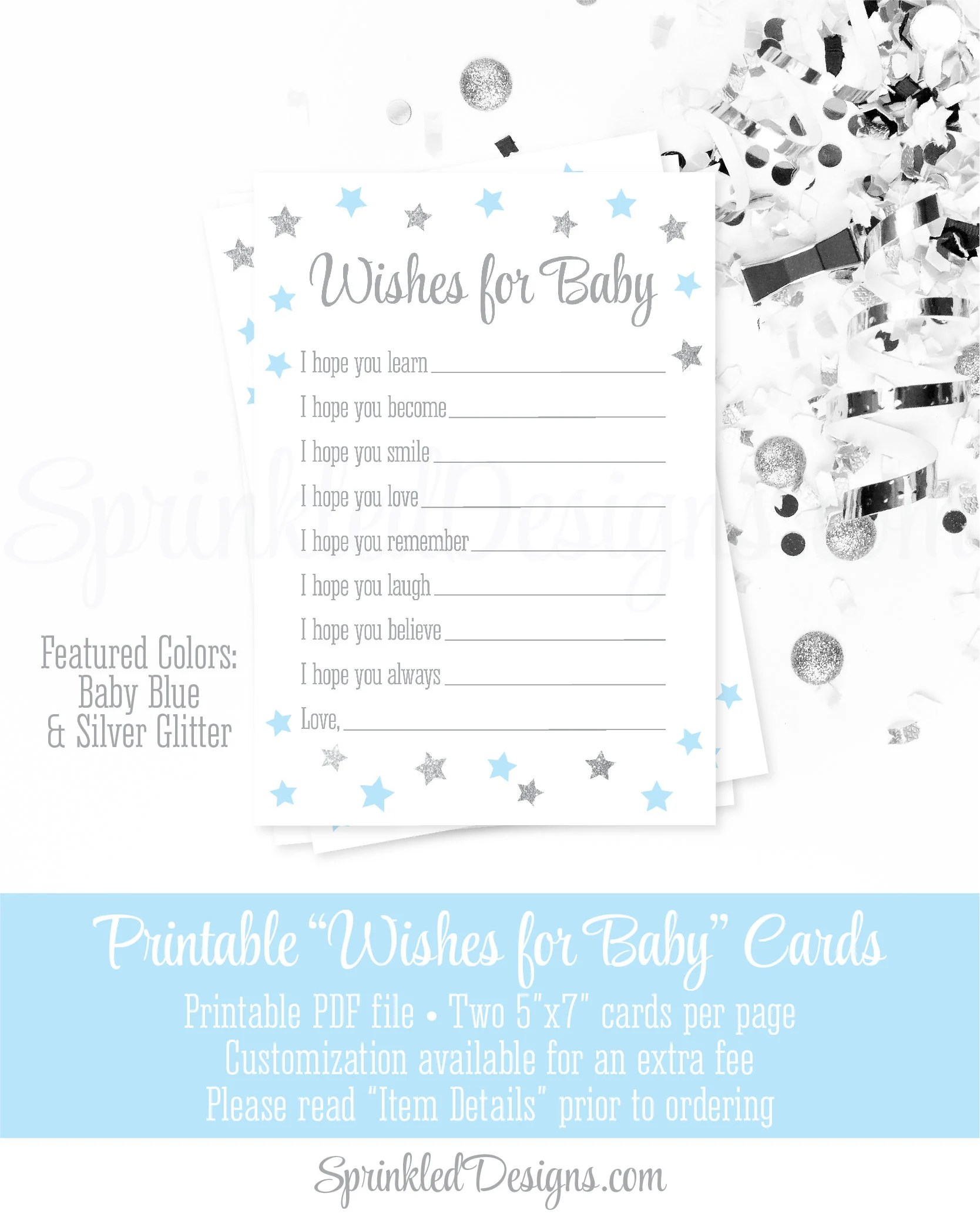 Wishes for Baby Boy Twinkle Star Baby Blue Silver Glitter Printable