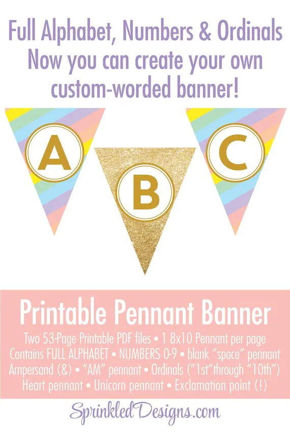 Unicorn Birthday Party Decorations - Unicorn Party Banner, Printable