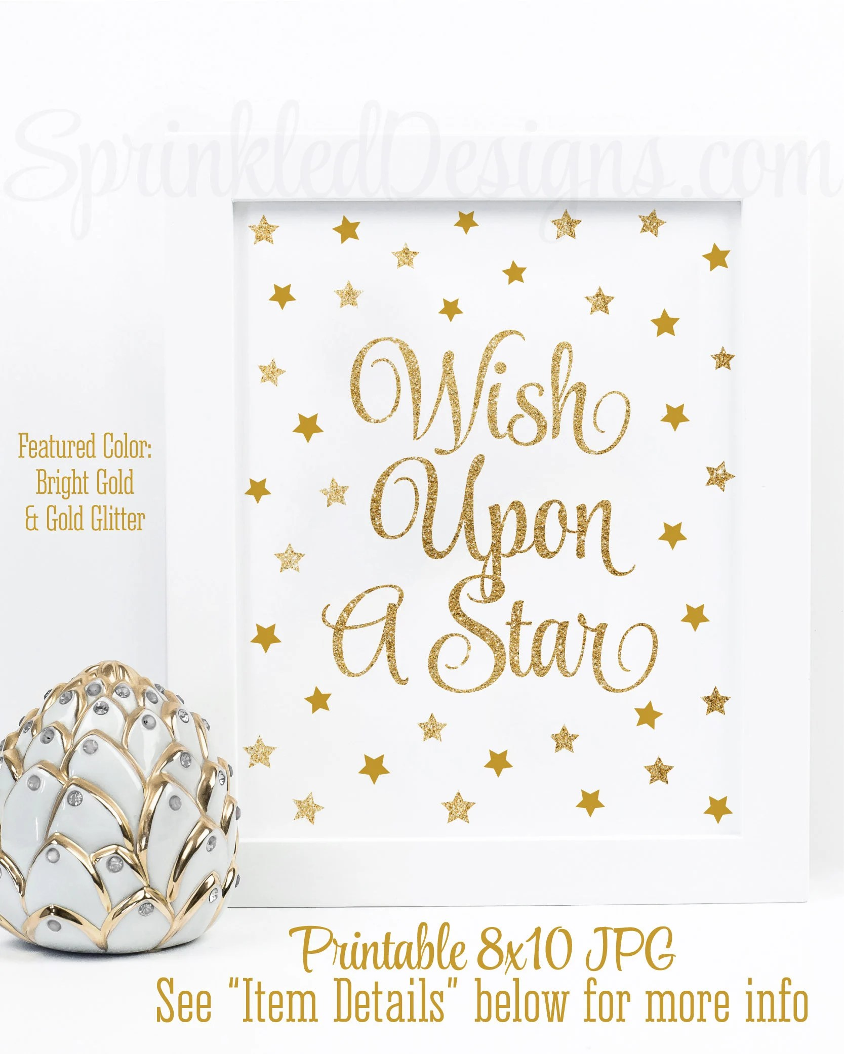 Wish Upon A Star - Gold Glitter Twinkle Little Star Baby Shower