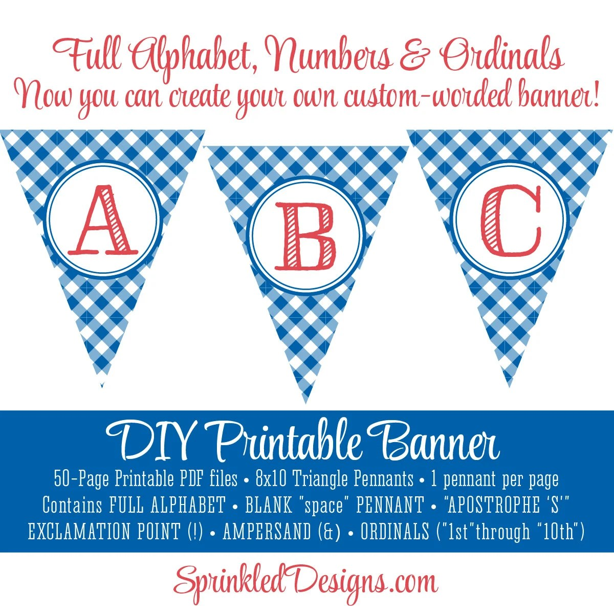 Printable DIY Custom Pennant Banner - Red Checkered Gingham Plaid