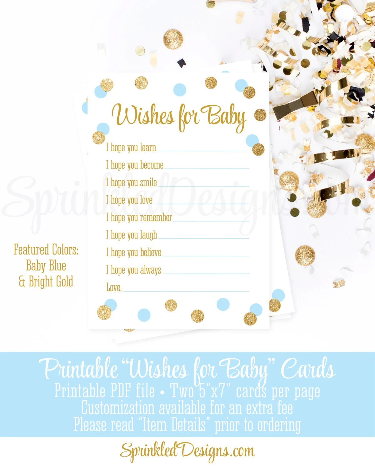 Wishes for Baby Boy - Baby Blue Gold Glitter Printable 5x7 Wish