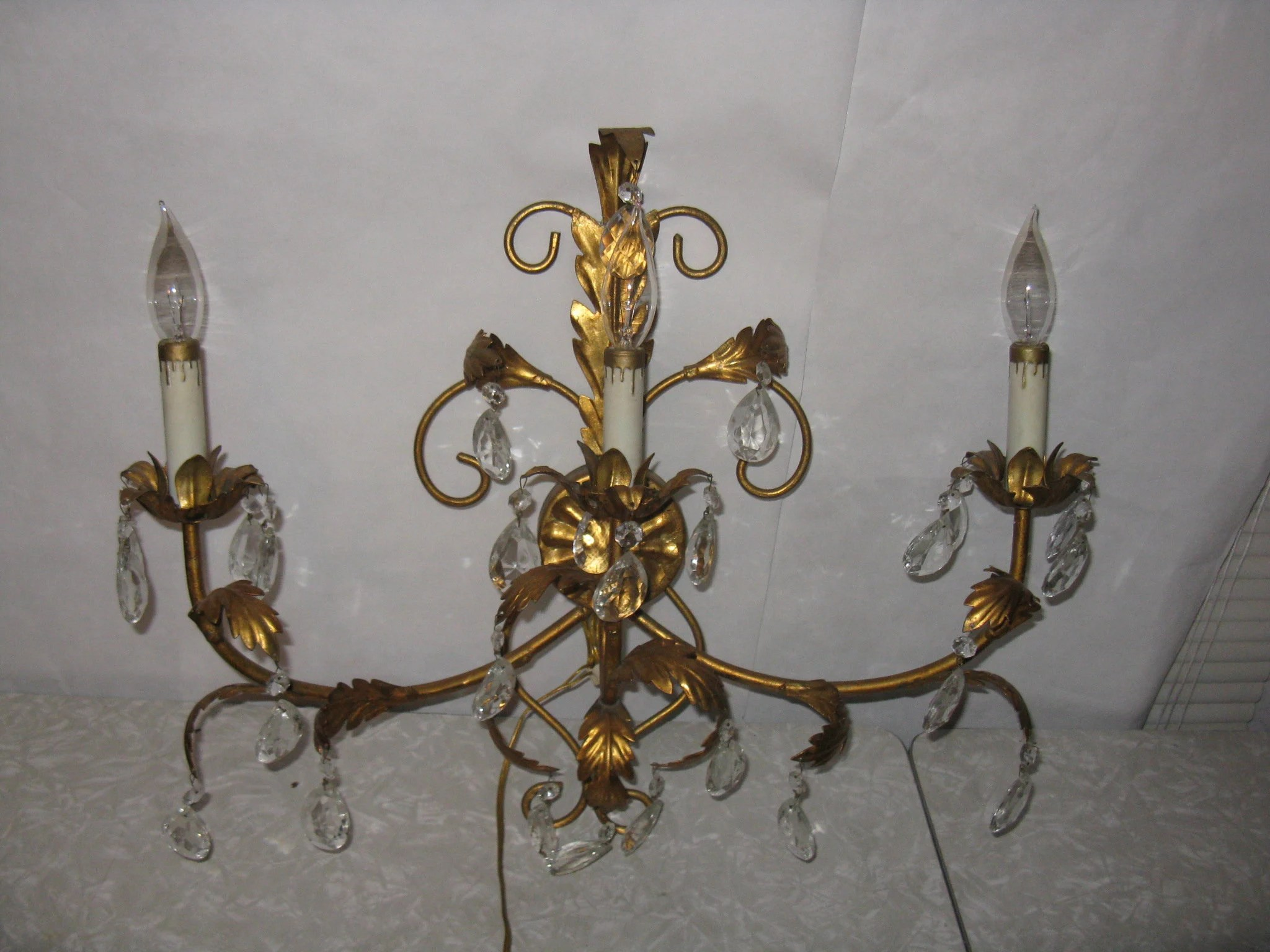 Gold metal wall lamp electric candelabra crystal prisms Etsy