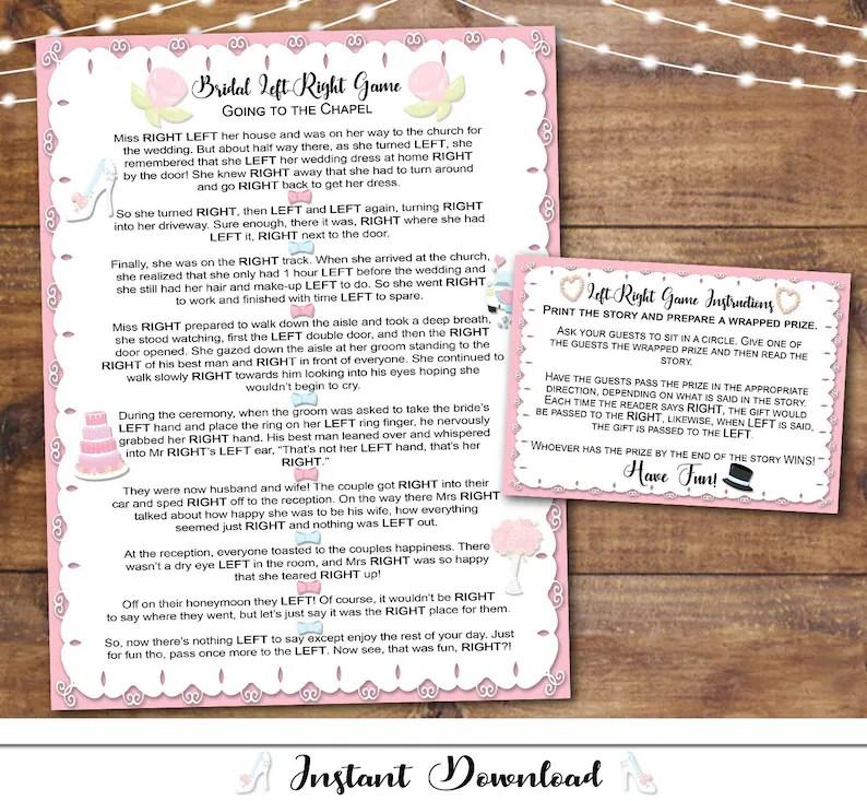 Left Right Bridal Shower Game Printable / Instant Print / Etsy
