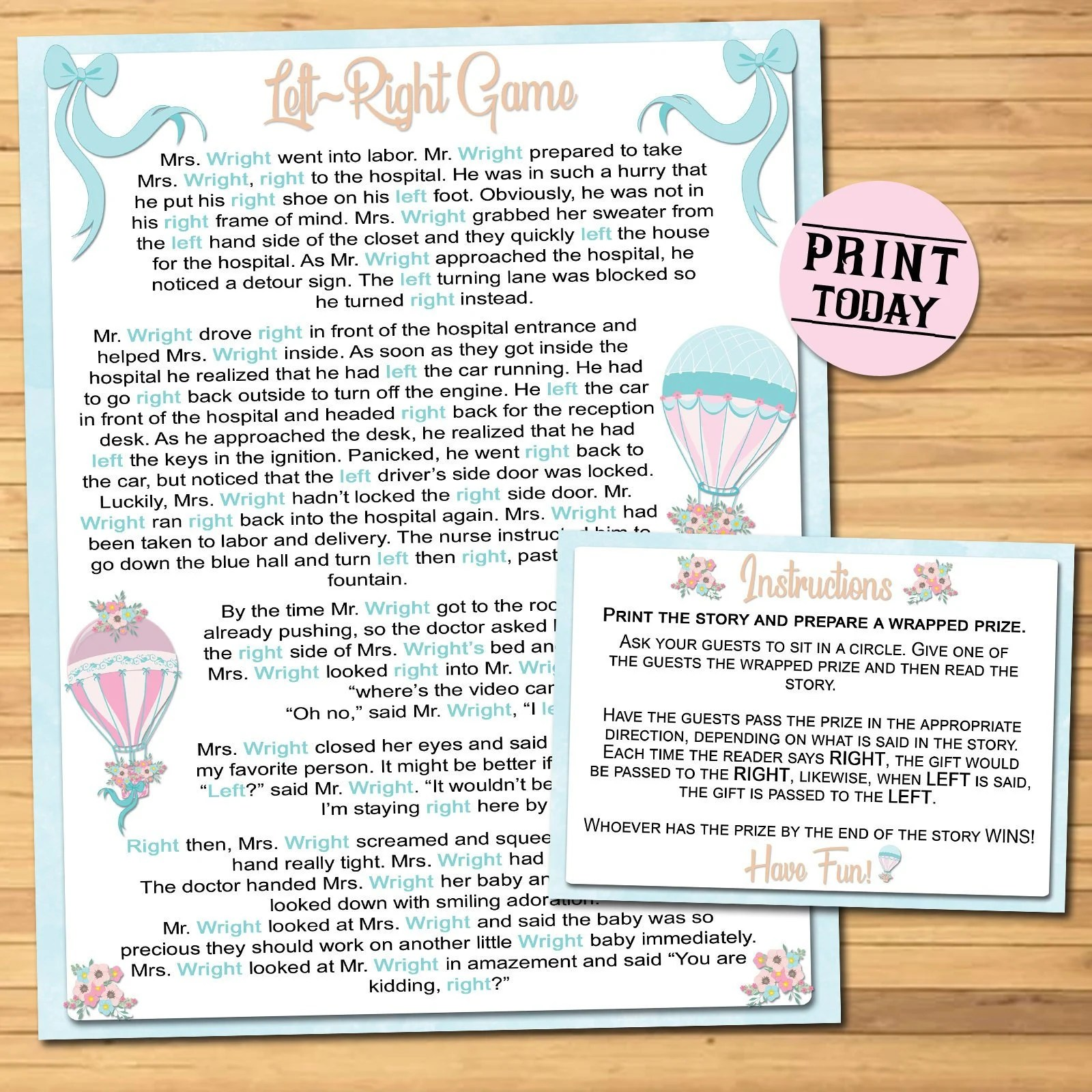 Baby Shower Game Printable / Left Right Game Instant Print / Etsy