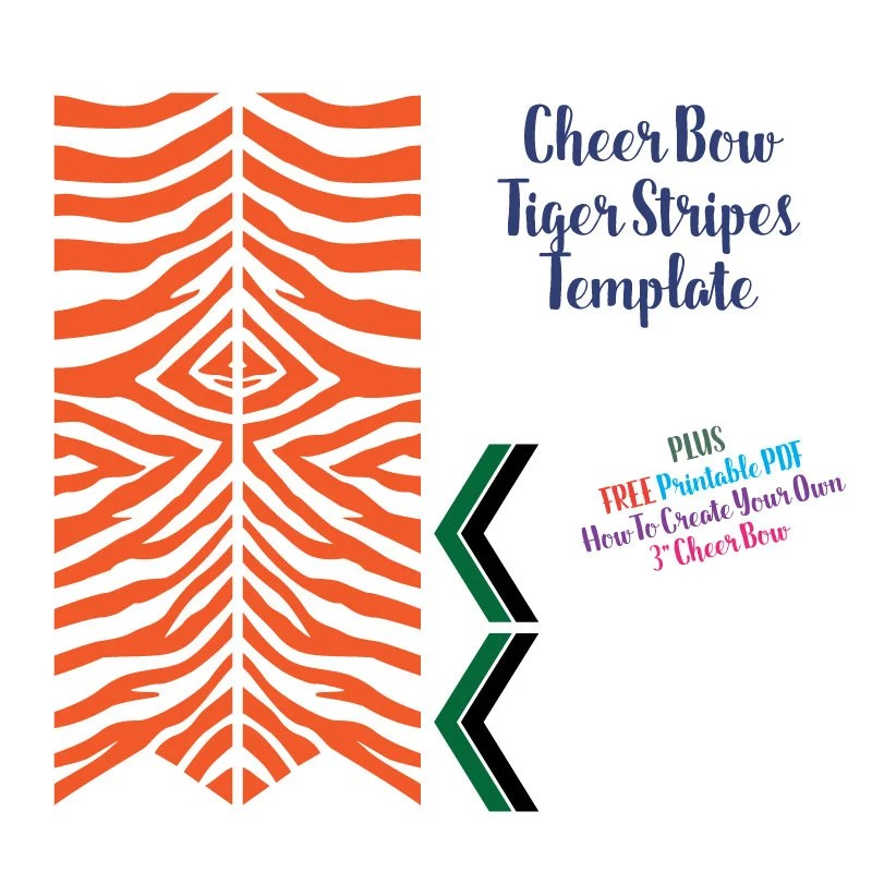 Cheer Bow Template Tiger Stripes for Vinyl Heat Transfer Etsy