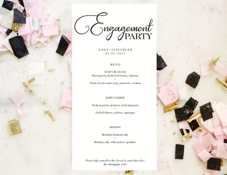 Engagement Party Menu Wedding Menu Template Instant Etsy