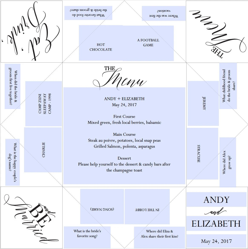 Printable Wedding Program/Menu/Favor Cootie Catcher/Fortune Etsy