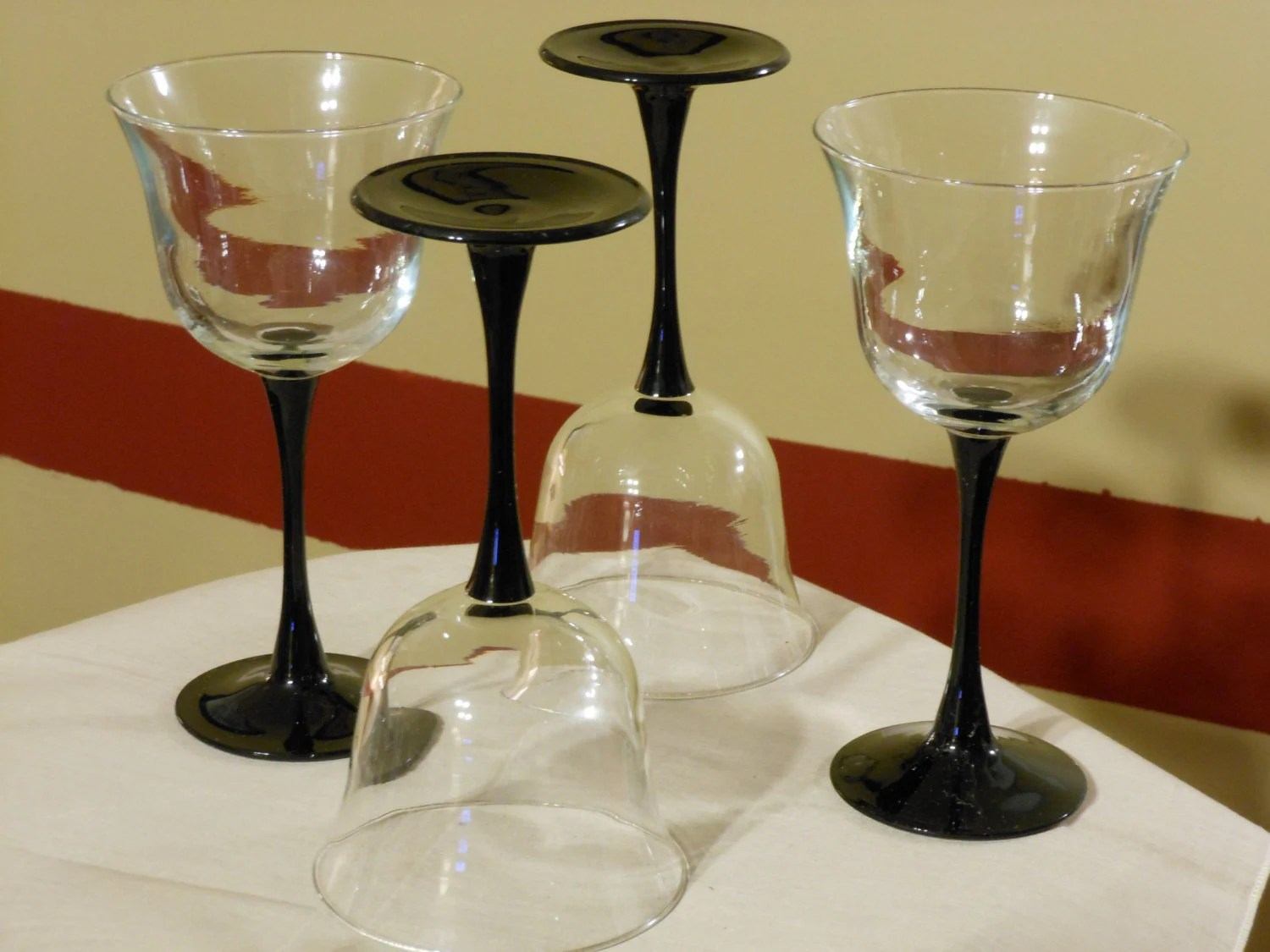 Black Wine Goblets Set Of Four Luminarc Americana White Wine Glasses With