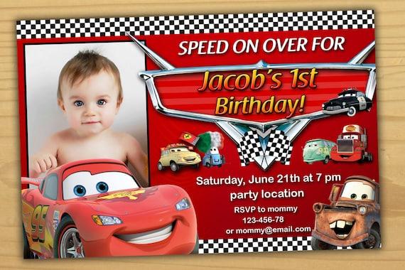 SALE Disney Cars Birthday Invitation Disney Cars invitation Etsy