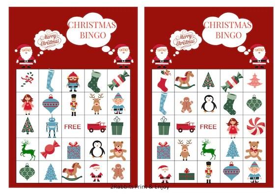 20 Printable Christmas Bingo Cards Prefilled Christmas Clip Etsy