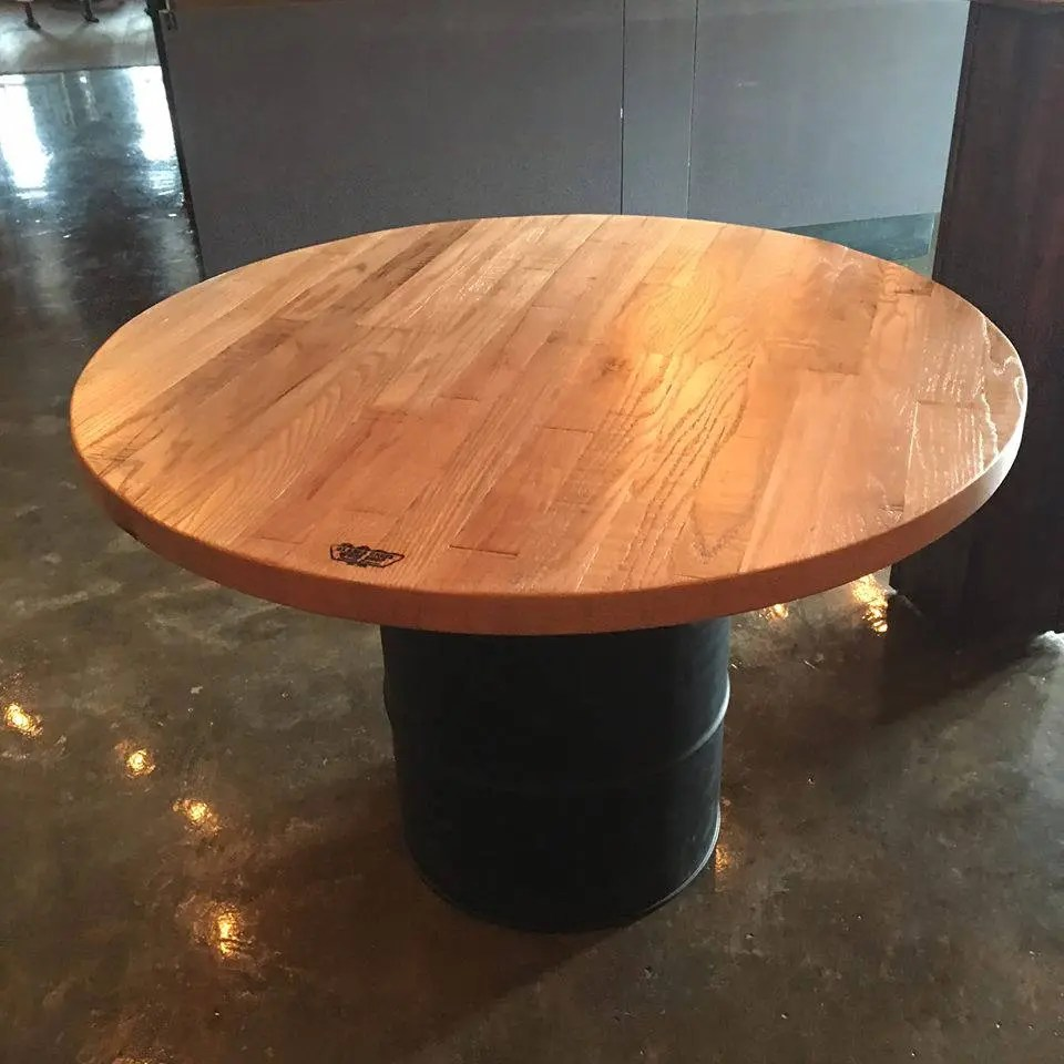 Reastaurant Tables Pub Bar Tables Circle Restaurant Tables Reclaimed Wood Table Tops Logo On Table Conference Table Custom Finish Skaggs Creek Wood Shop