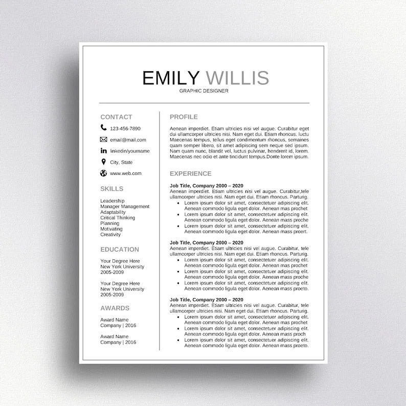 SALE Professional Resume Template CV Template Cover Letter Etsy