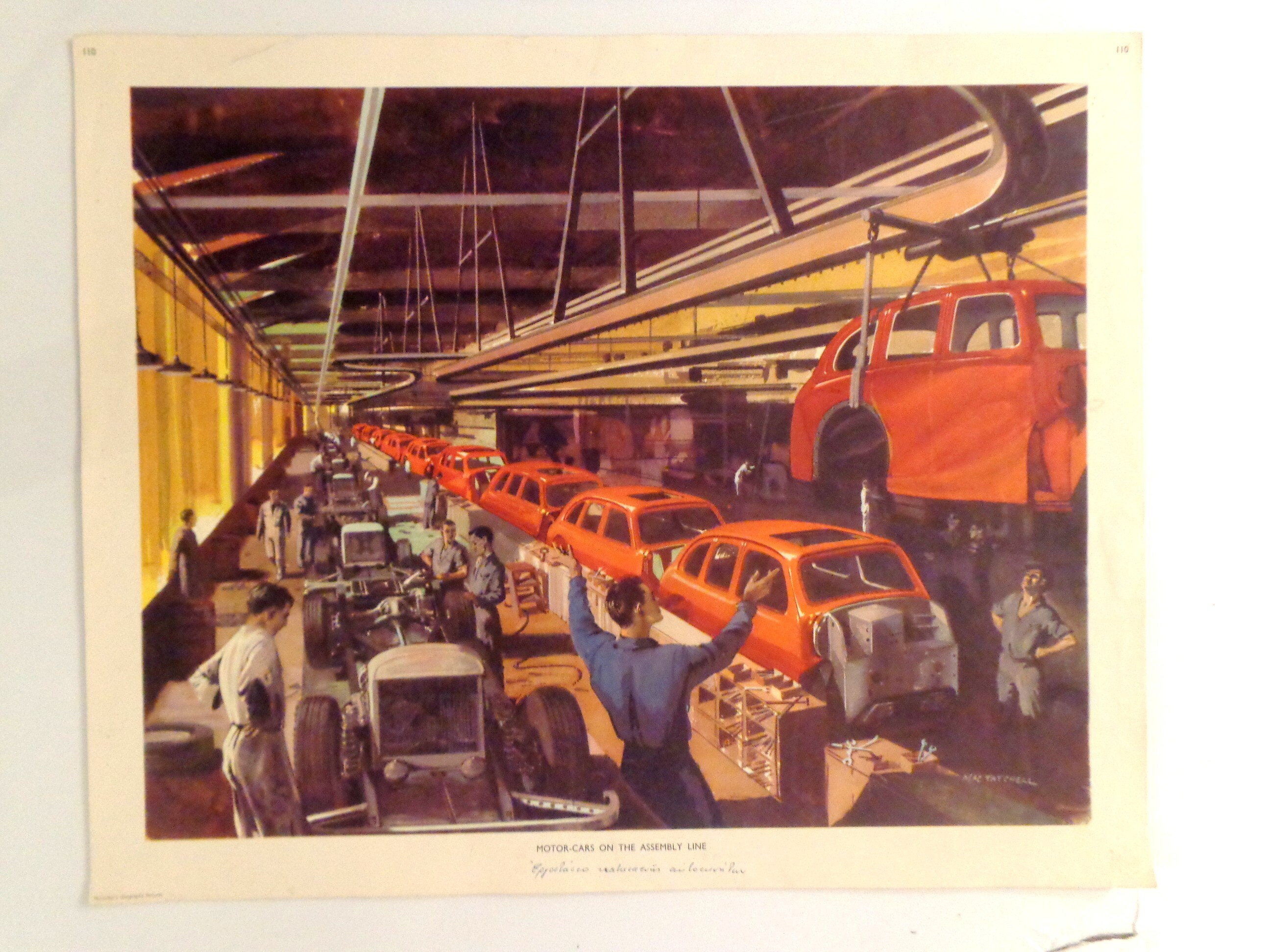 Libro Motores Macmillan 1960 Vintage Industrial Poster Motor Cars On The Assembly Line Original Macmillan Poster Print