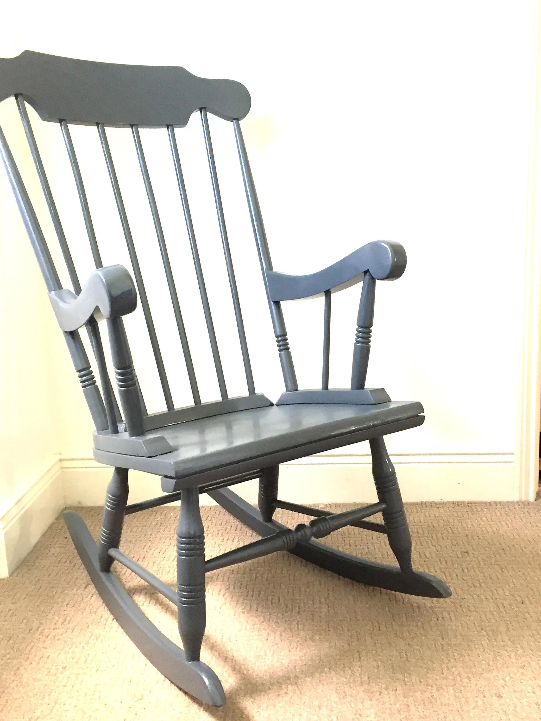 Grey Nursing Chair Made To Order Vintage Hand Painted Grey Rocking Chair Nursing Chair Nursery Upcycled Retro Shabby Chic Bespoke