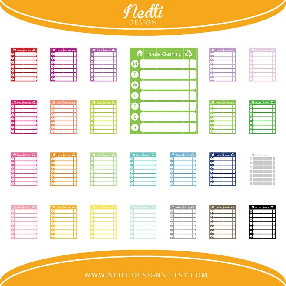 24 Weekly House Cleaning Chores List Clipart Set Clip Art Etsy