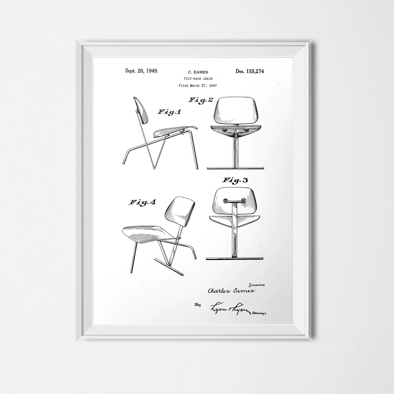 Eames Chair Patent Eames Chair Patent Instant Download Chair Printable Black White Mid Century Modern Print Vintage Poster 18x24 Patent Illustration