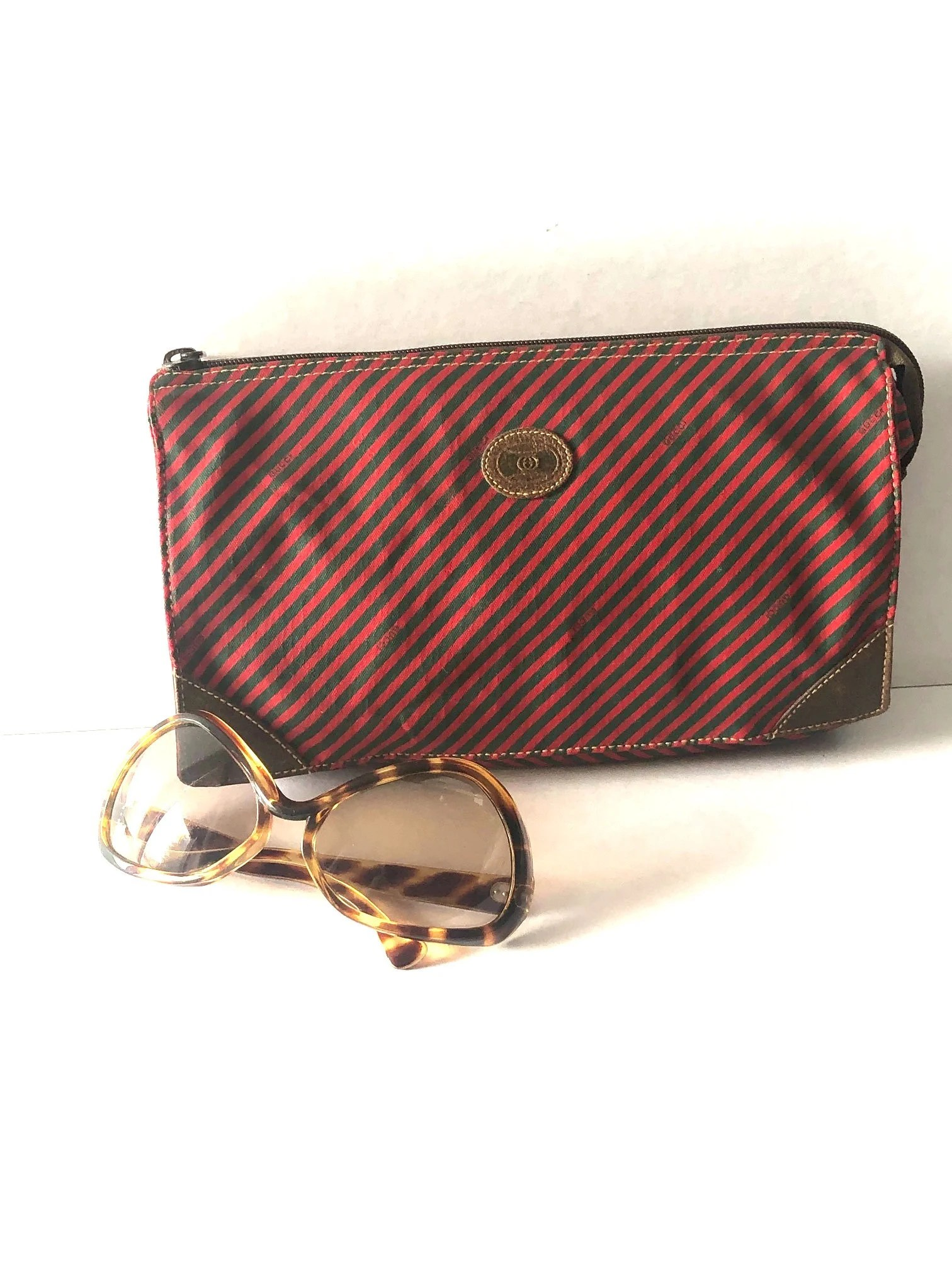 Etsy Vintage Gucci Striped Vintage Gucci Clutch
