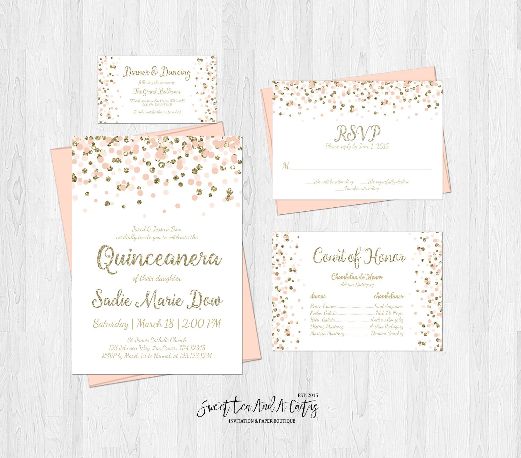 Quinceanera Invitation Set Blush Pink and Gold Glitter Etsy