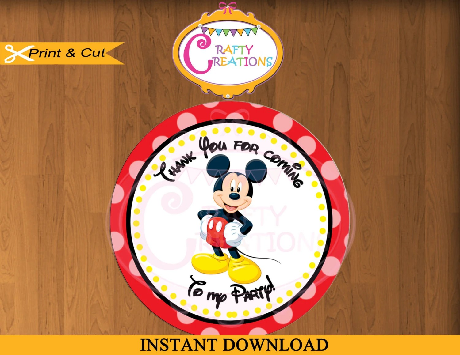 Printable Mickey Mouse Stickers Favor Tag Party Tags Thank Etsy