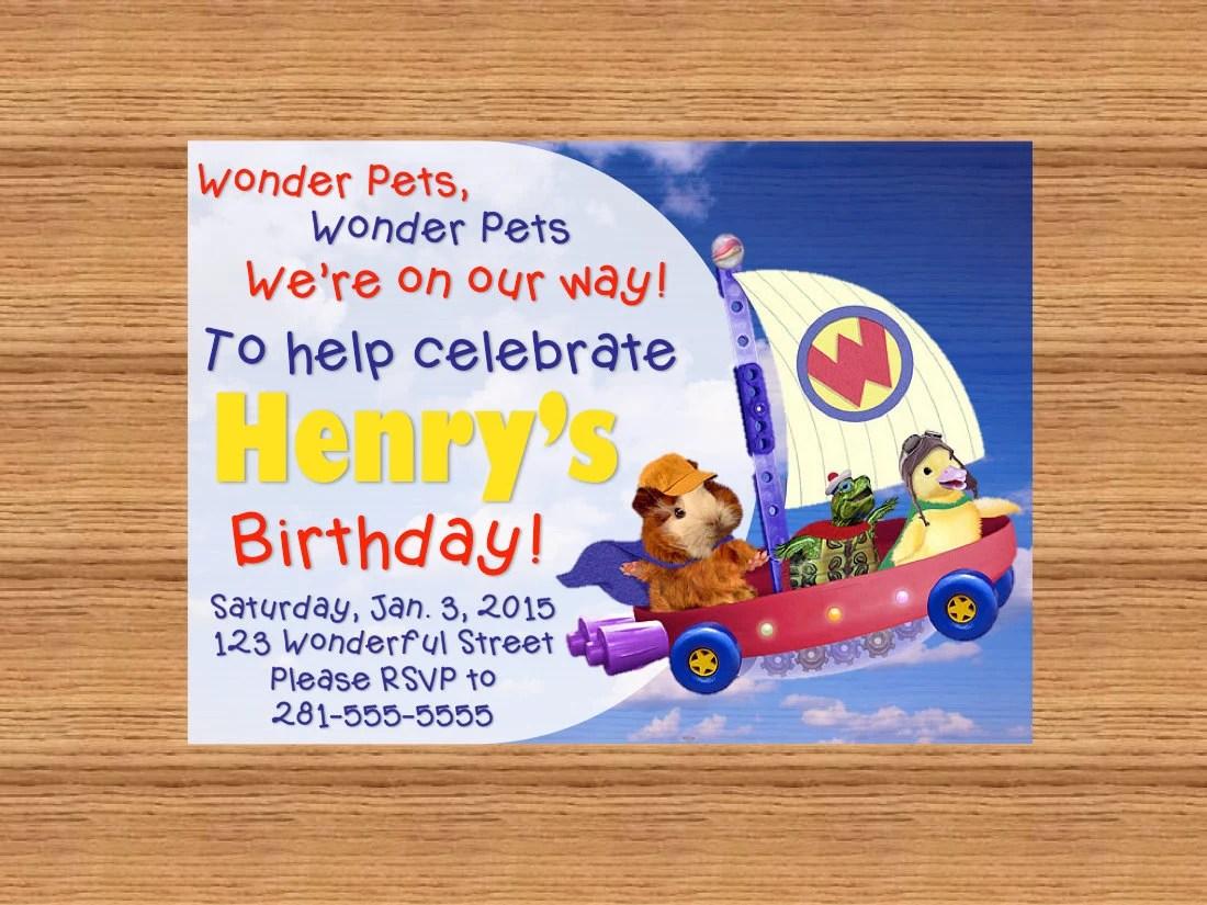 PRINTABLE Custom Invitation Wonder Pets on the Fly Boat Etsy