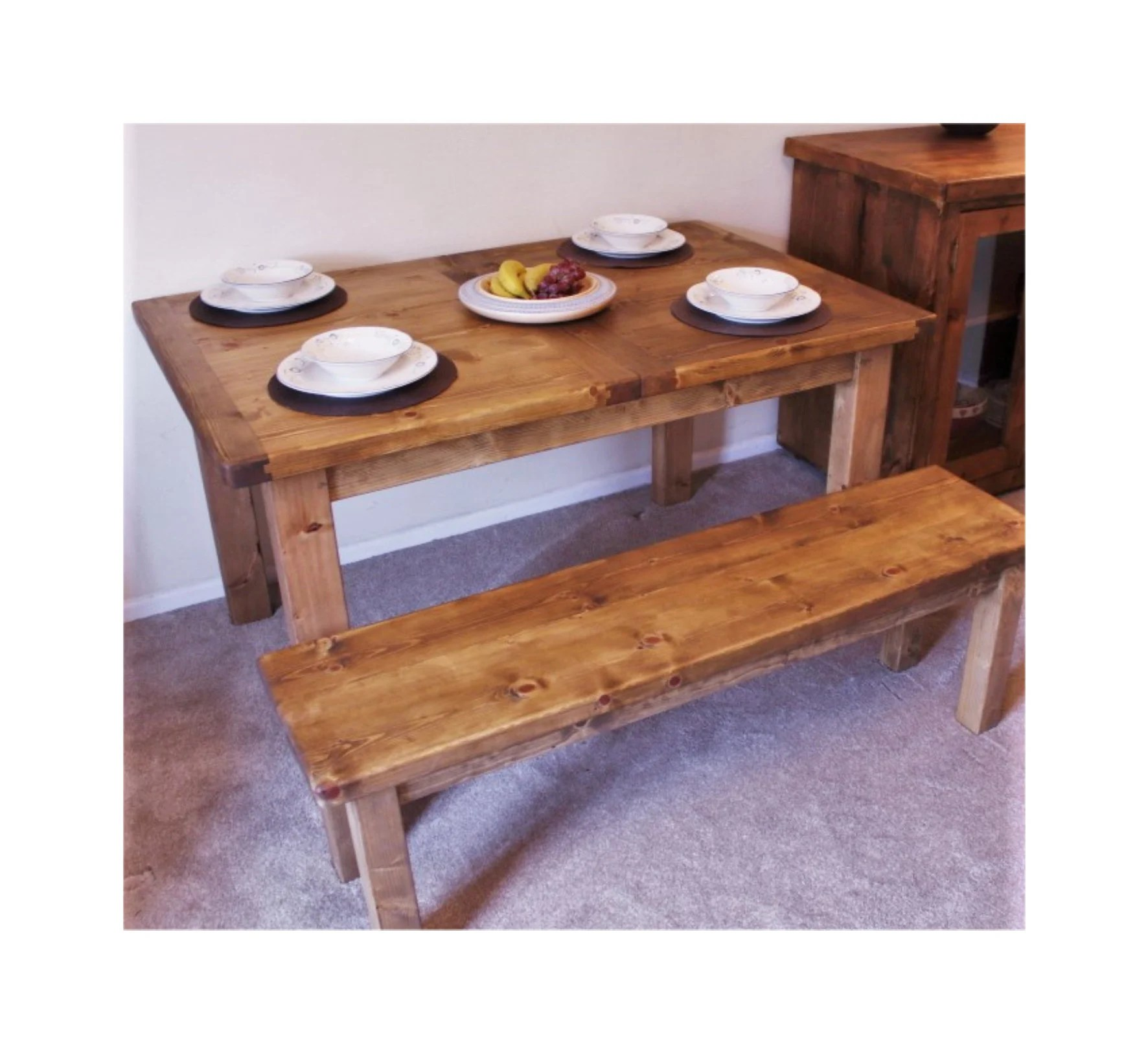 Couchtisch Colombo Wooden Kitchen Dining Table In Natural Eco Wood Extendable Chunky Slab Top Modern Rustic Farmhouse Style Quality Handmade In Somerset Uk